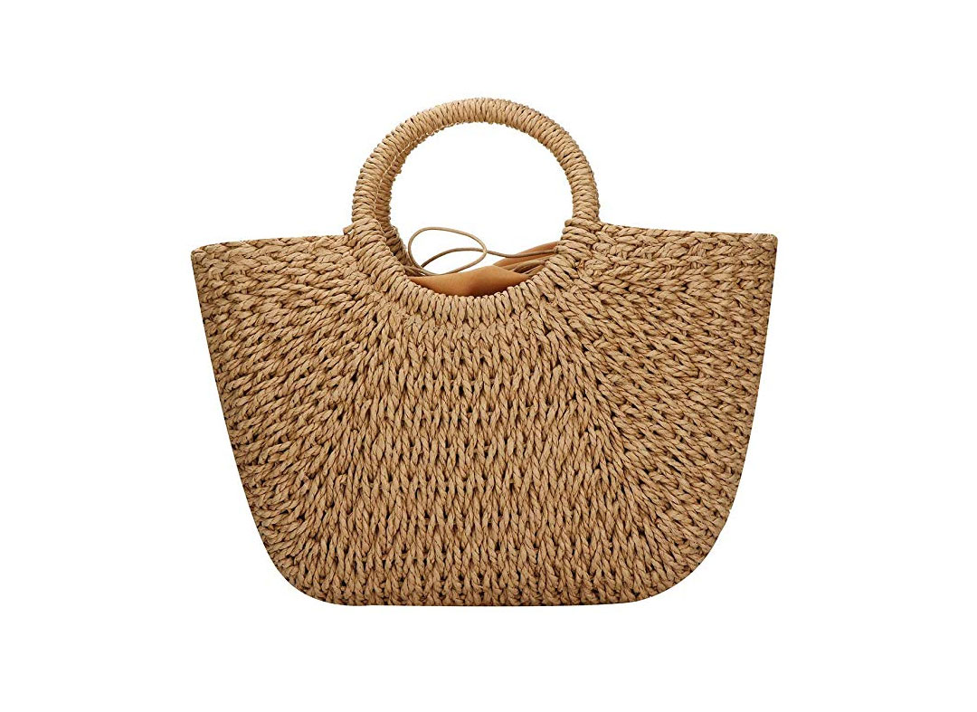 Hand-woven Straw Large Hobo Bag for Women Round Handle Ring Toto Retro Summer Beach Straw Bag