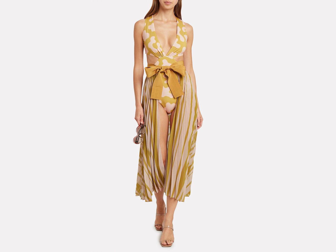 Silvia Tcherassi Blanche Pleated Chiffon Skirt