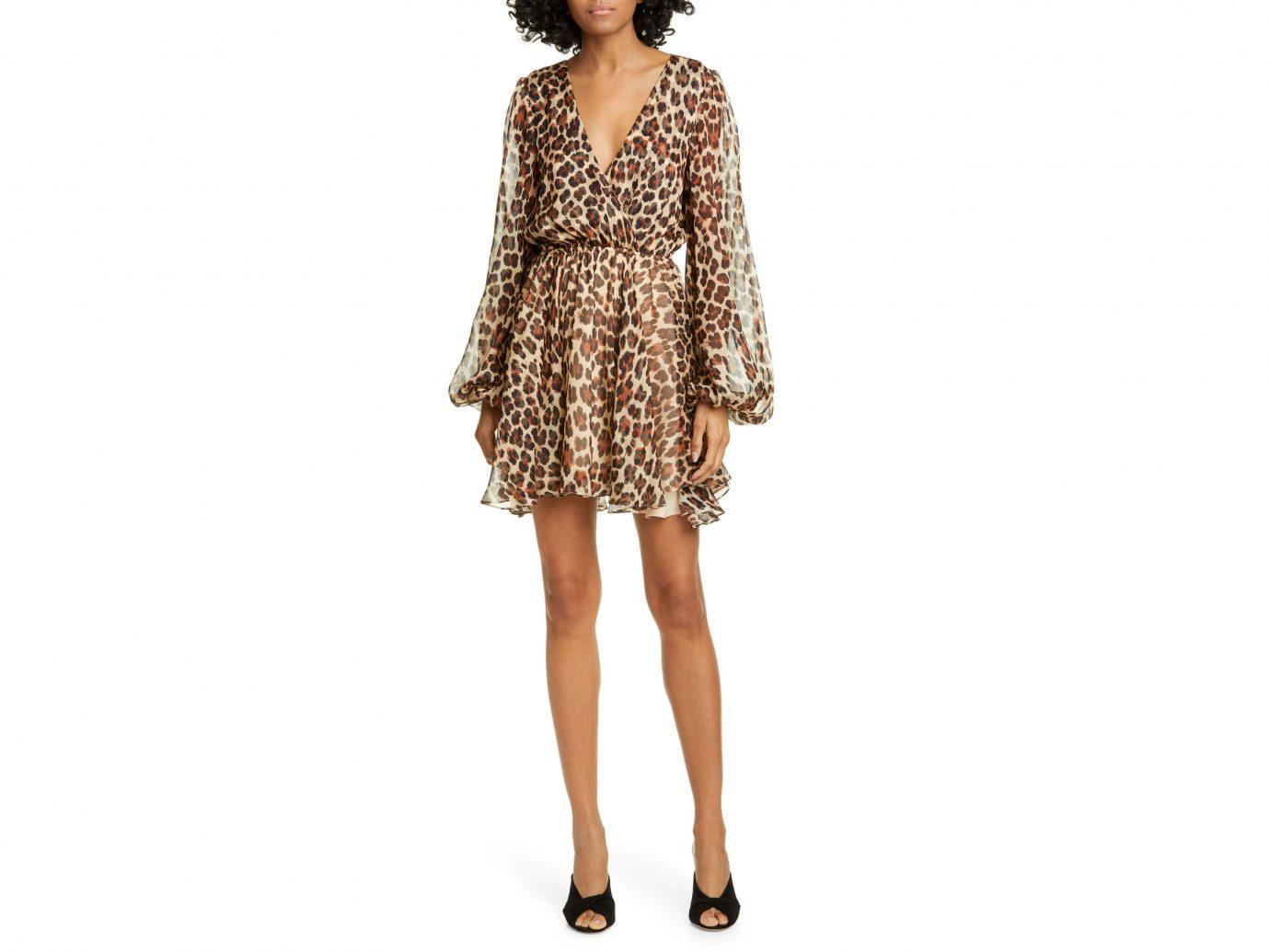 Caroline Constas Olena Leopard Print Silk Long Sleeve Minidress