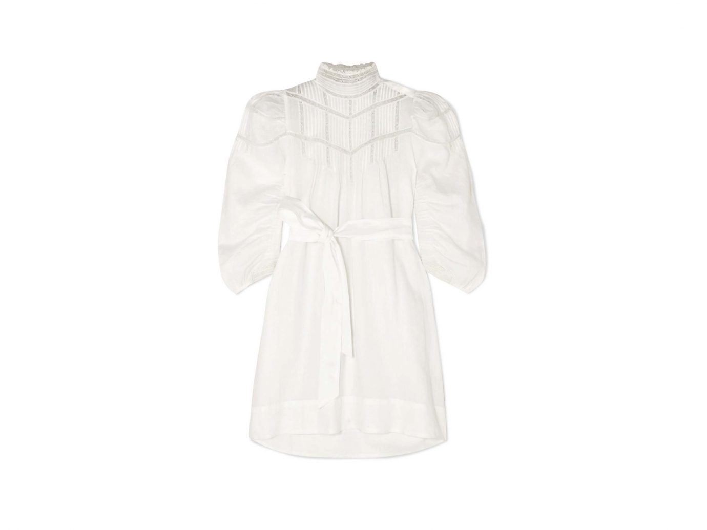 DÔEN Georgia lace-trimmed pintucked ramie mini dress