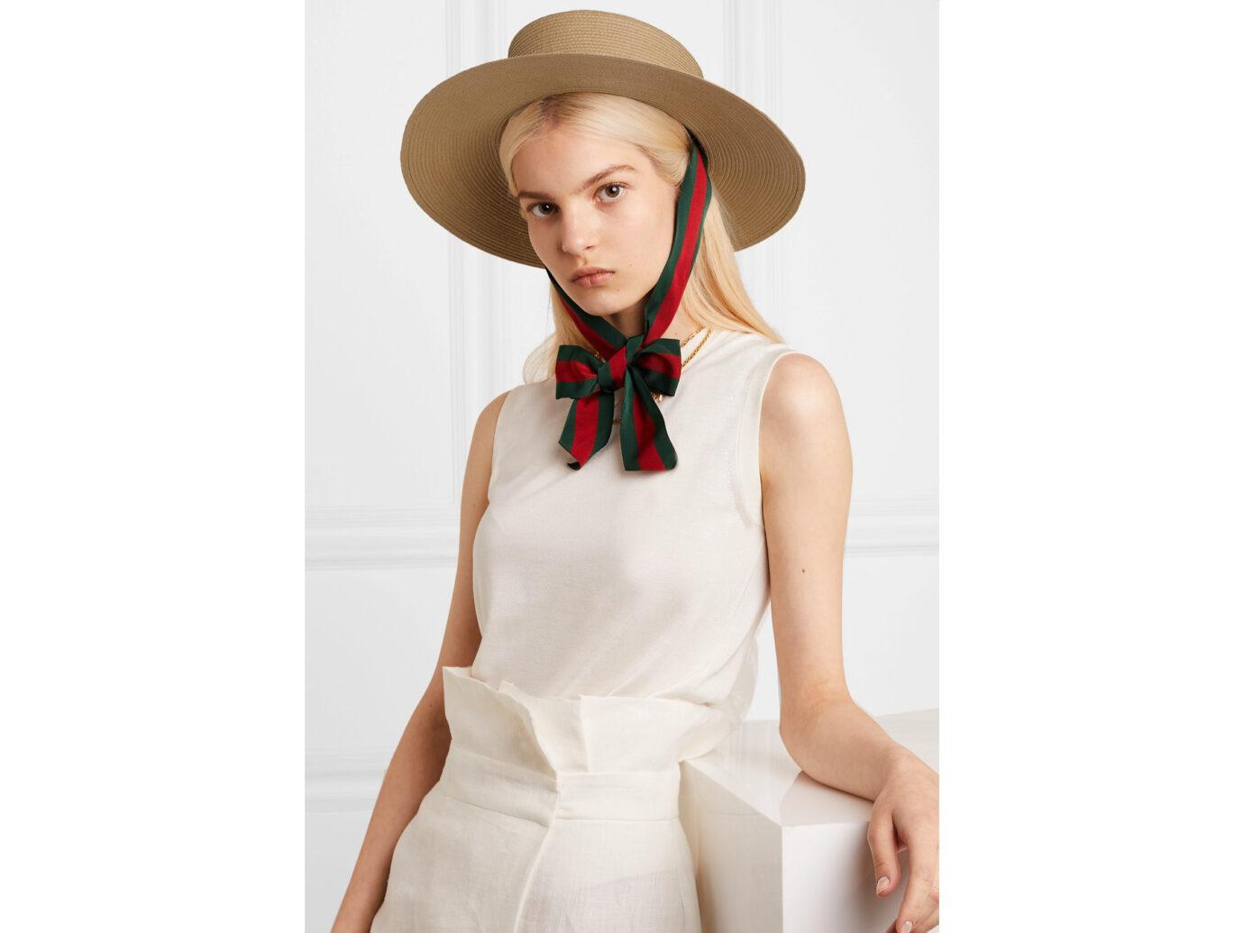 Gucci Grosgrain-trimmed raffia hat