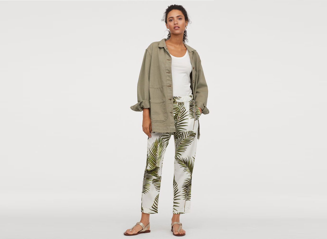 H&M Palm Print Crêped Pants
