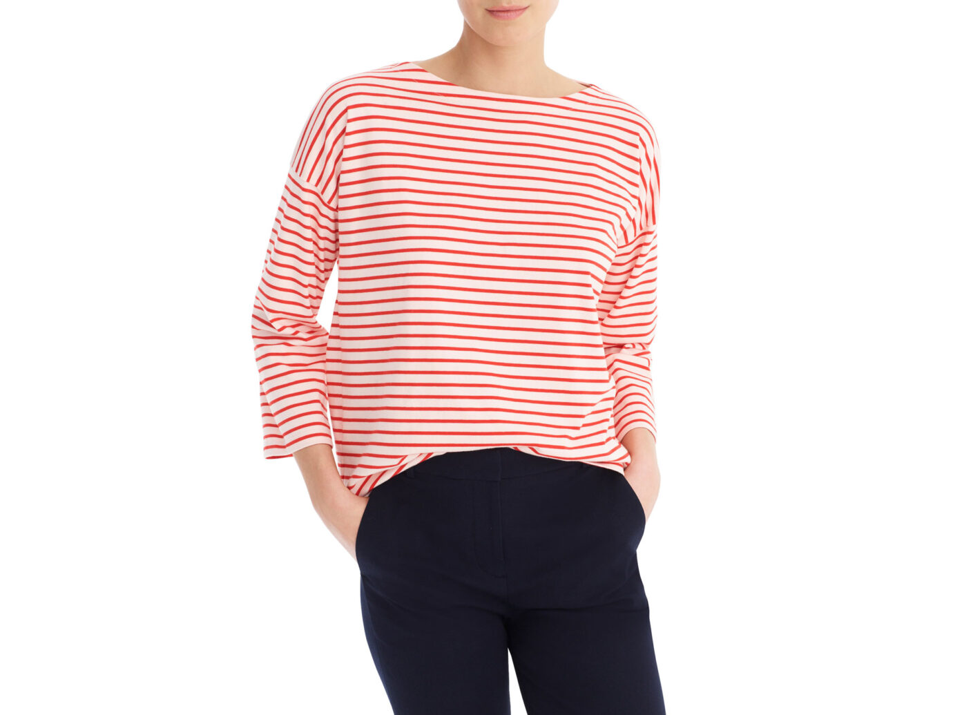 Striped Tee with Grosgrain Trim