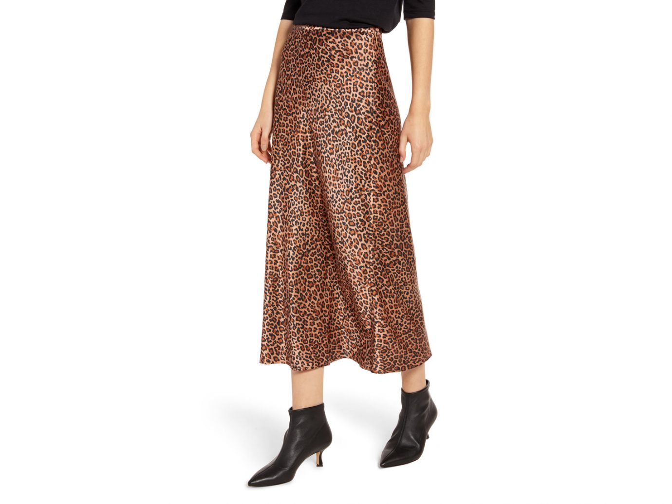 Something Navy leopard Midi Slip Skirt