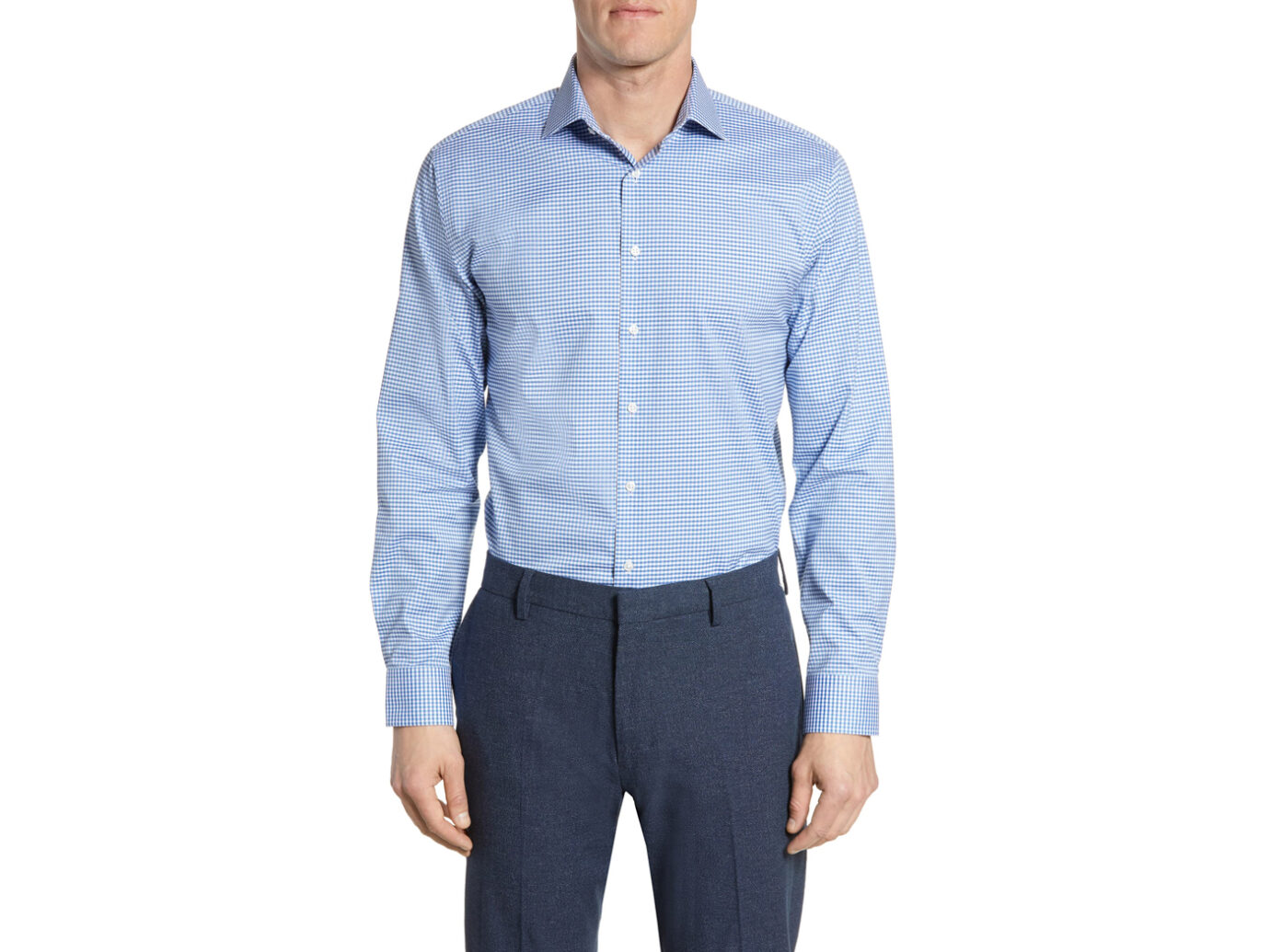 Nordstrom Trim Fit Stretch Non-Iron Check Dress Shirt