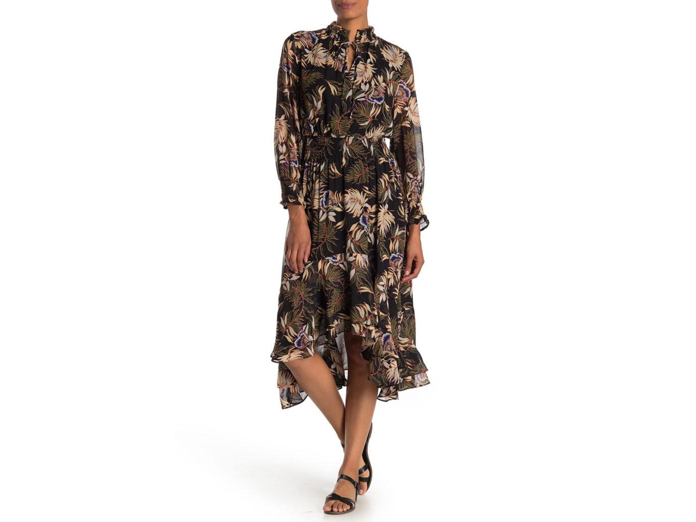 Madeline Palm Print Keyhole Dress
