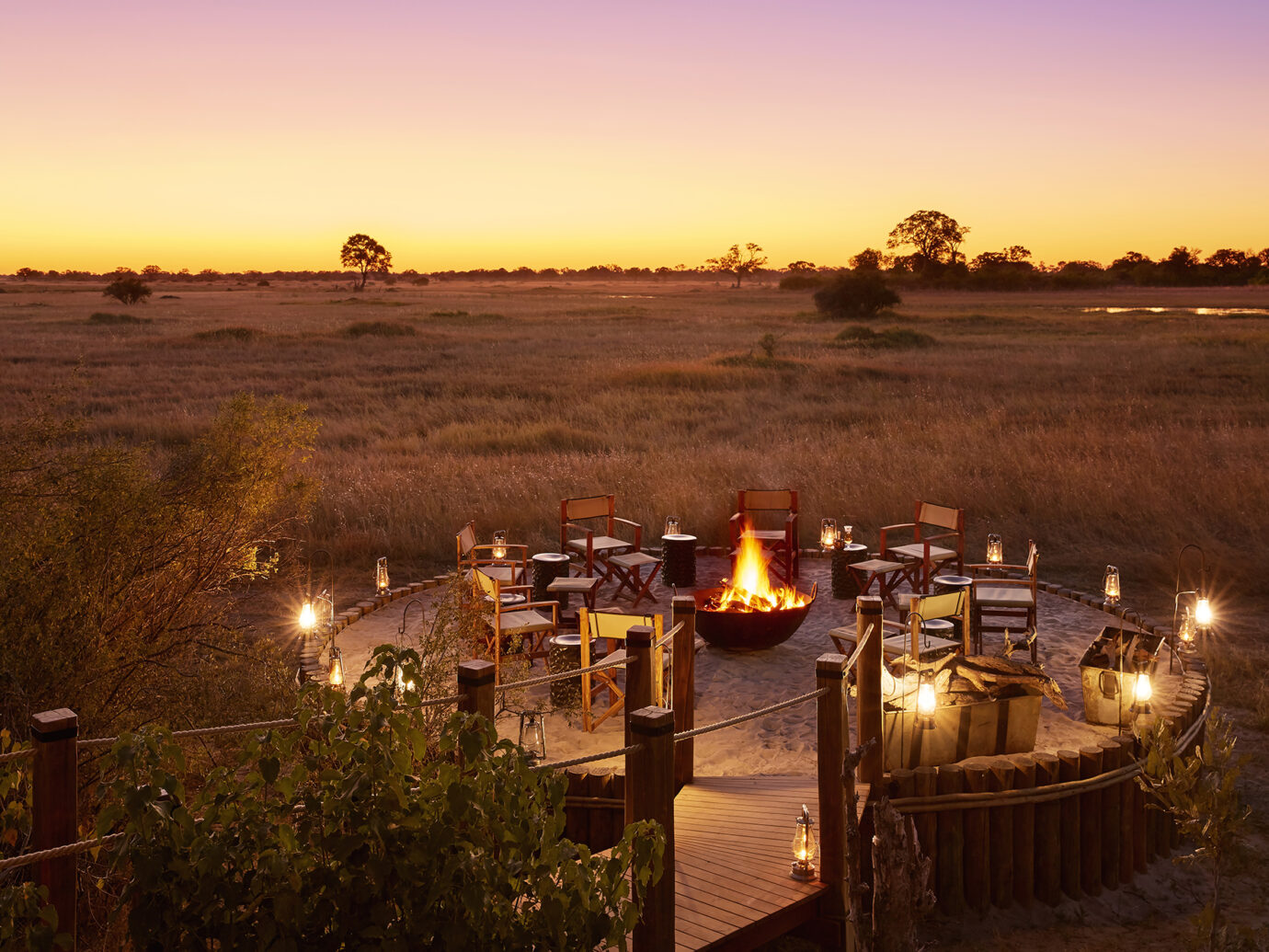 Fire pit at Tuludi Camp, Botswana