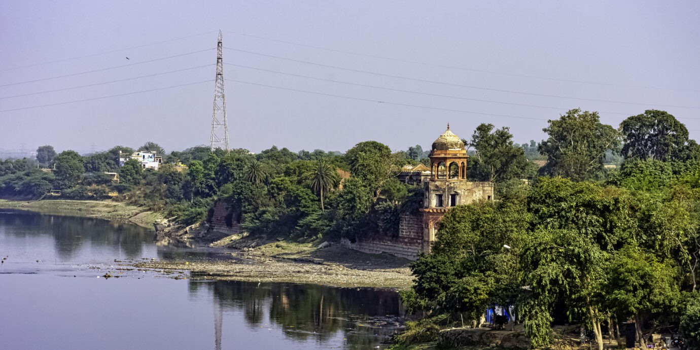 Panoramic view of Yamuna River in Agra, Uttar Pradesh, India