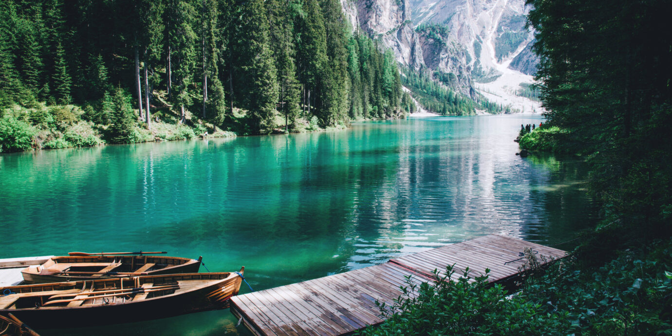 Beautiful view of Lago di Braies or Pragser wildsee, Trentino Alto Adidge, Dolomites mountains, Italy.