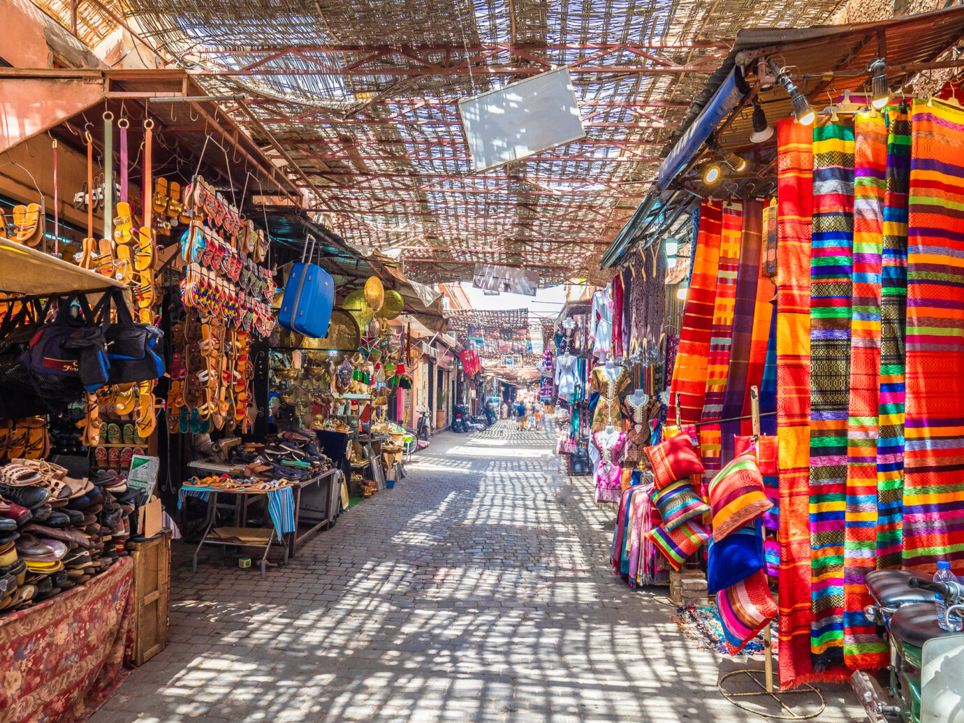 Souvenirs on the Jamaa el Fna in old Medina, Marrakesh, Morocco