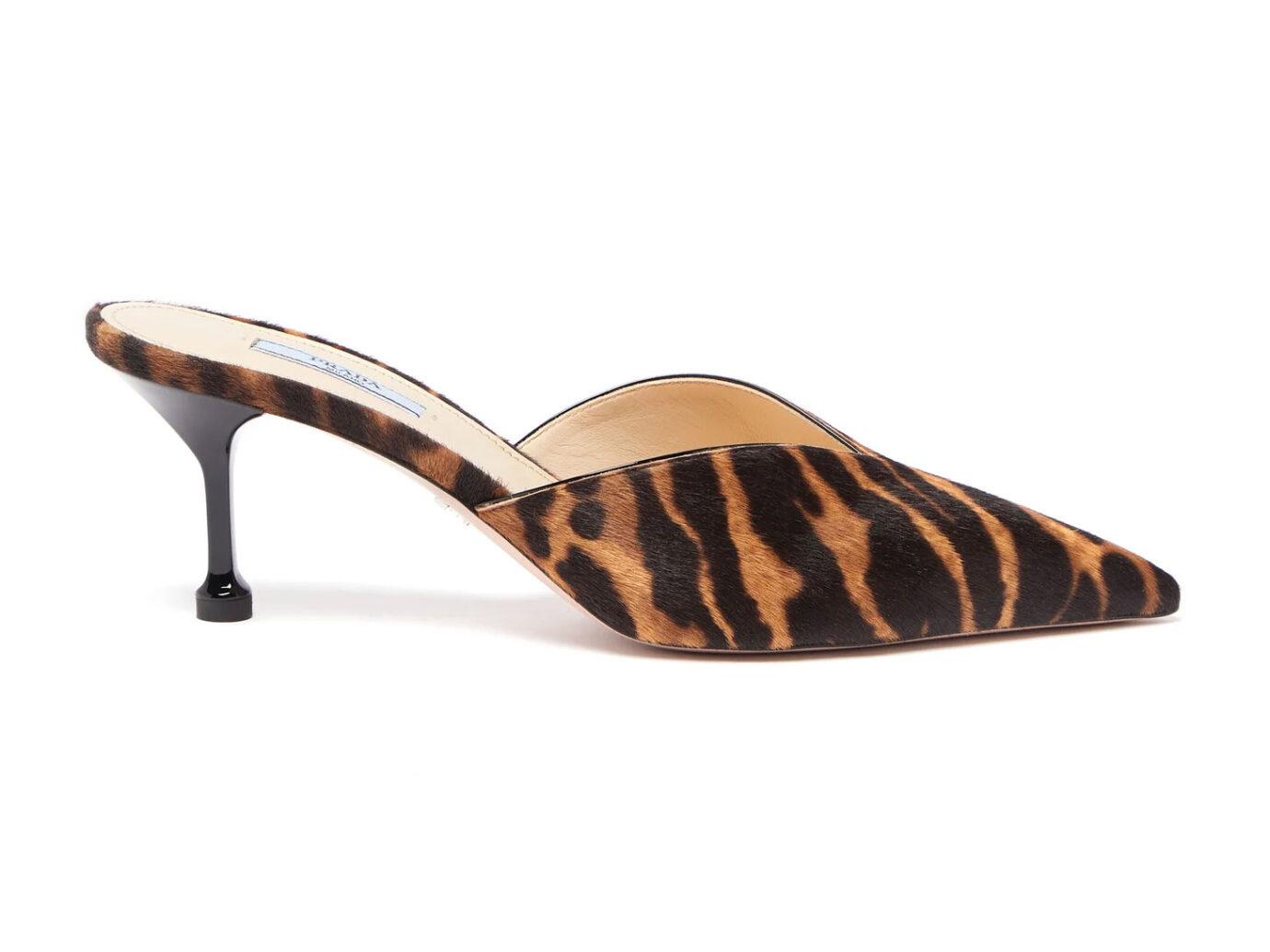 Prada Tiger-Print Calf-Hair Kitten Heel Mules