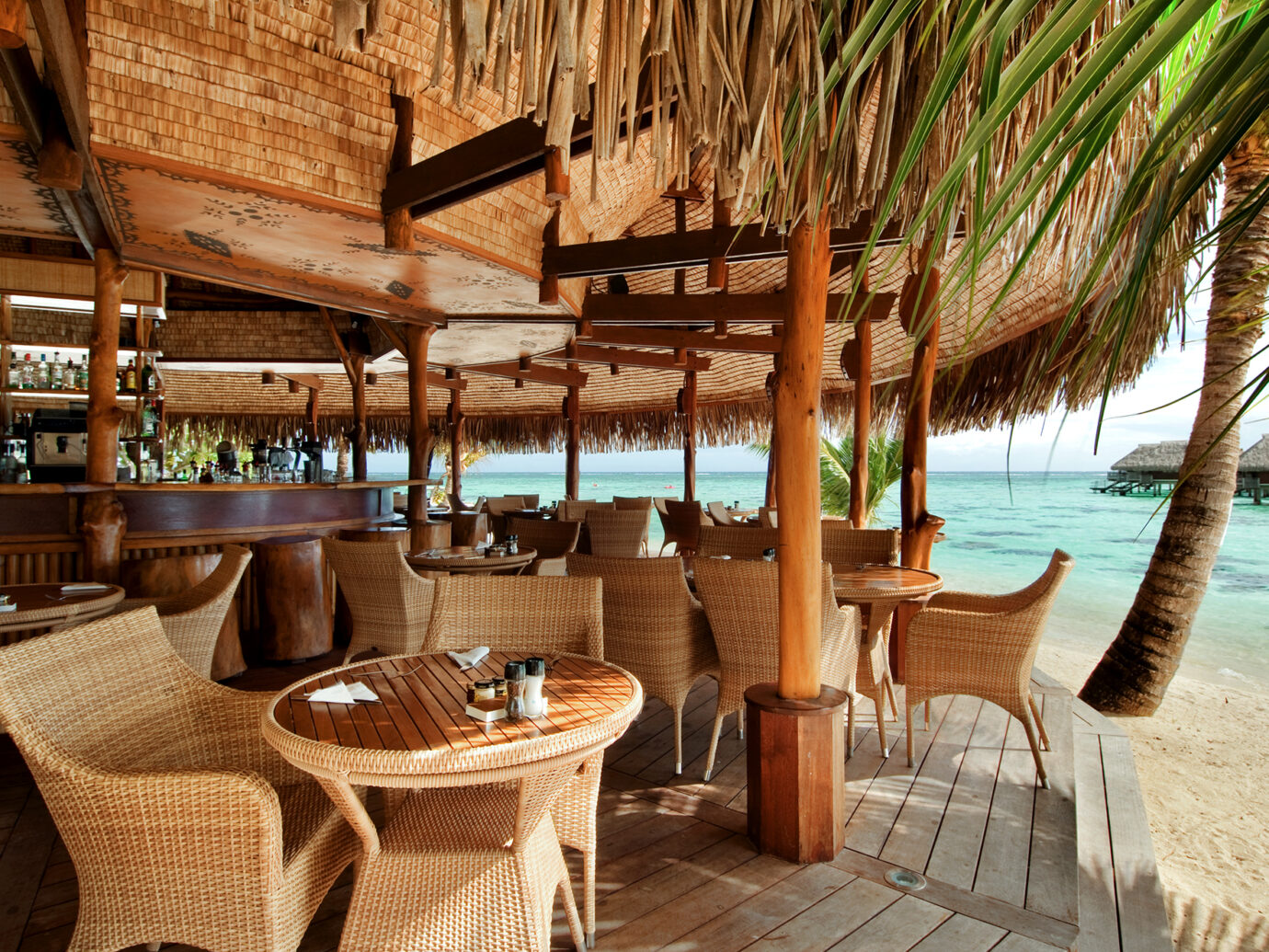 Outdoor bar at Hilton Moorea