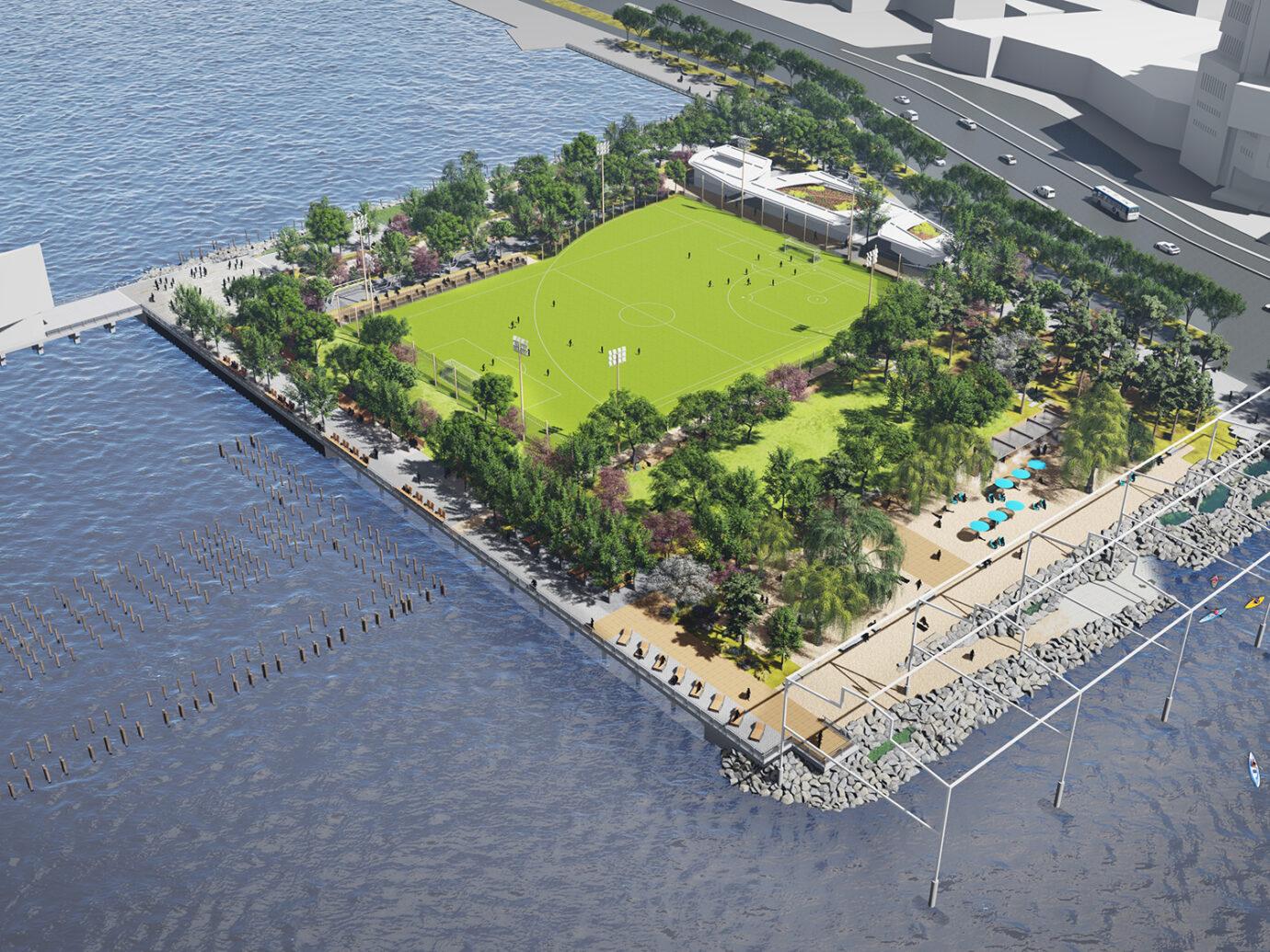 Hudson River Park Beach Rendering