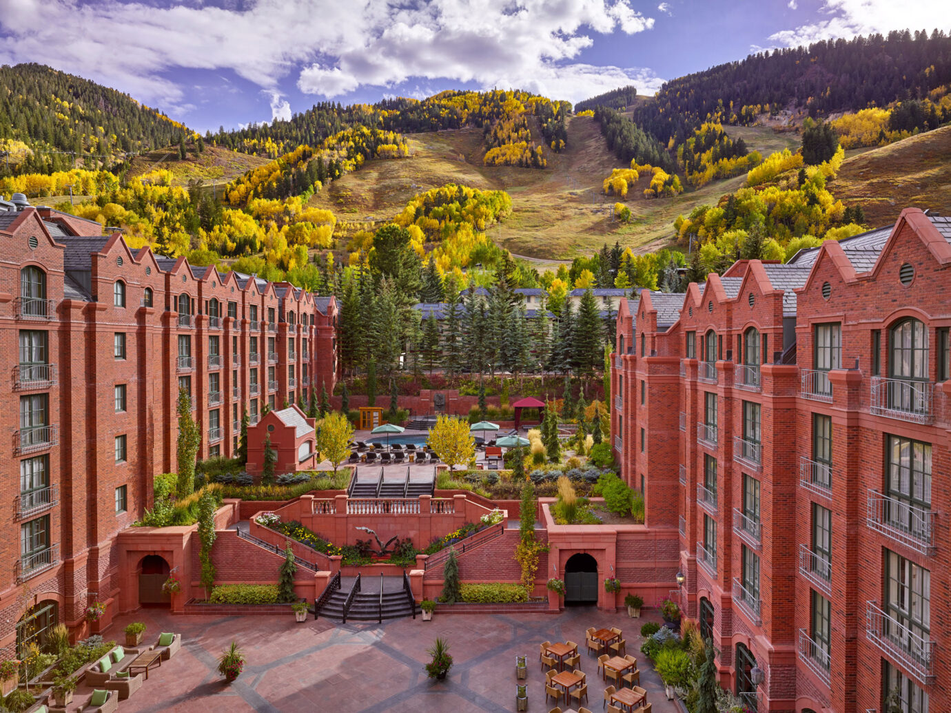 exterior of The St. Regis Aspen Resort in autumn