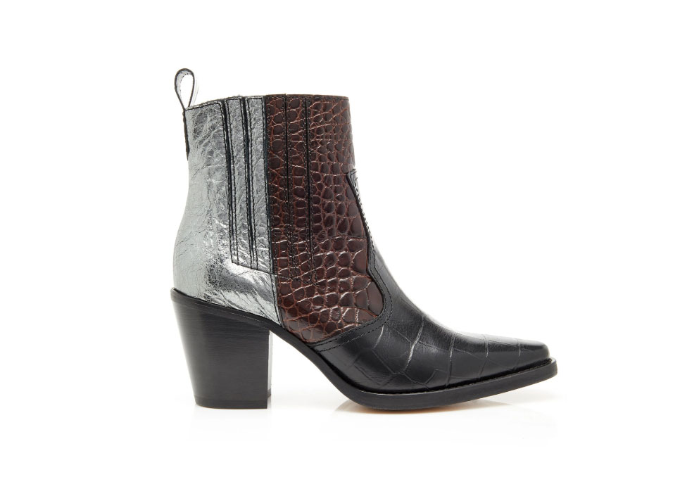 Ganni Paneled Croc-Effect Leather Ankle Boots