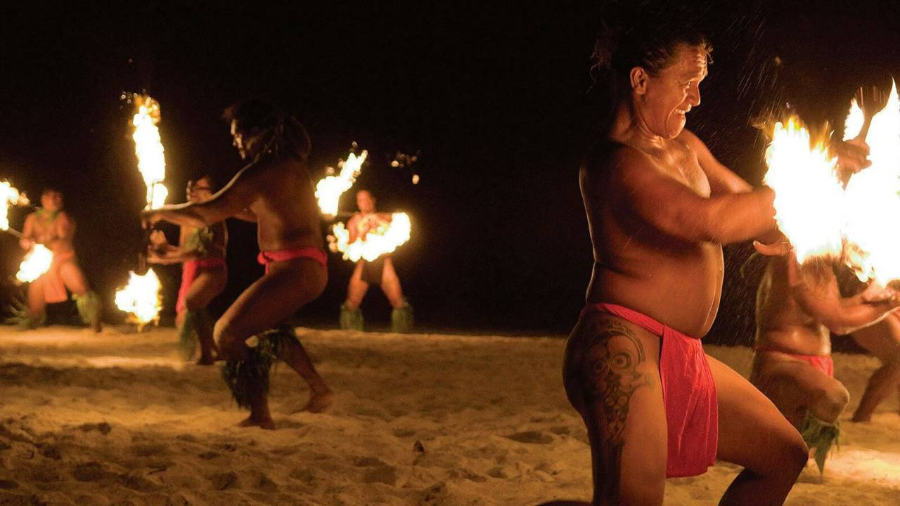 Fire dancing at night at Four Seasons Bora Bora