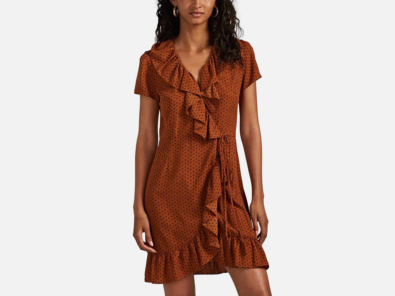 BARNEYS NEW YORK Polka Dot Crepe Wrap Dress
