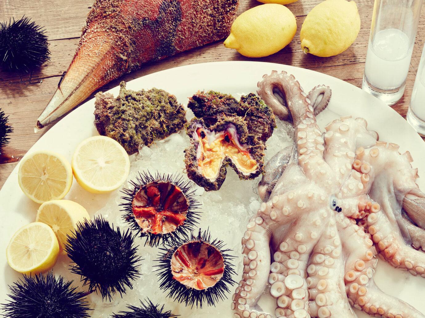 fresh seafood at the Myconian Ambassador Hotel, Greece