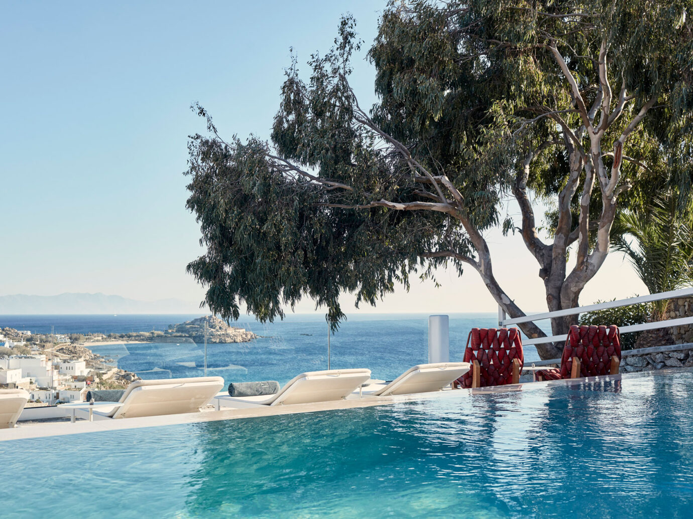 pool and ocean view at the Myconian Ambassador Hotel, Greece