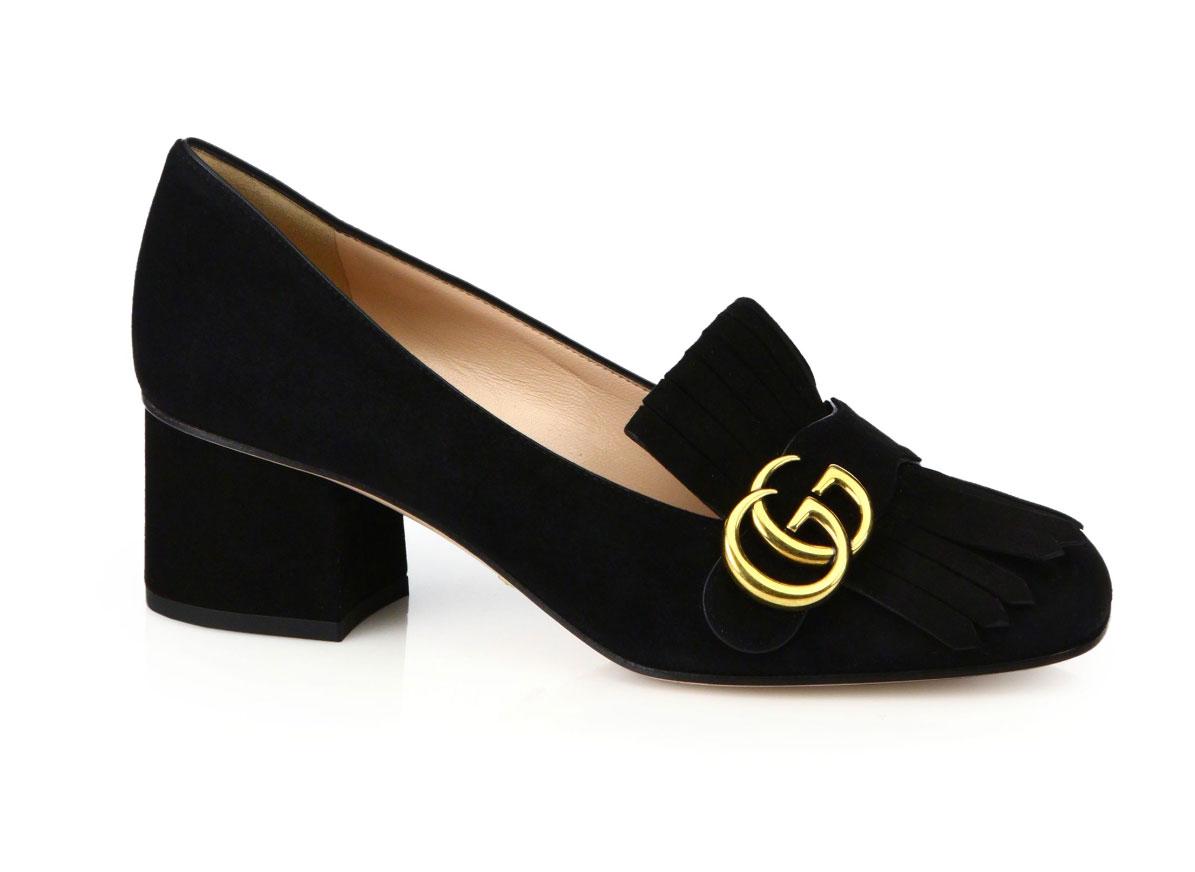 Gucci Marmont GG Suede Block Heel Pumps - saks