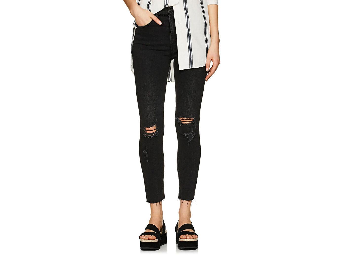 RAG & BONE High Rise Ankle Skinny Distressed Jeans