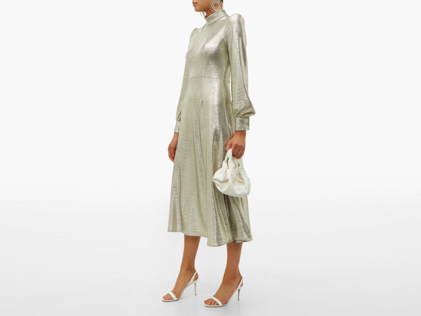 Goat Goldfinch balloon-sleeve filed jersey midi dress