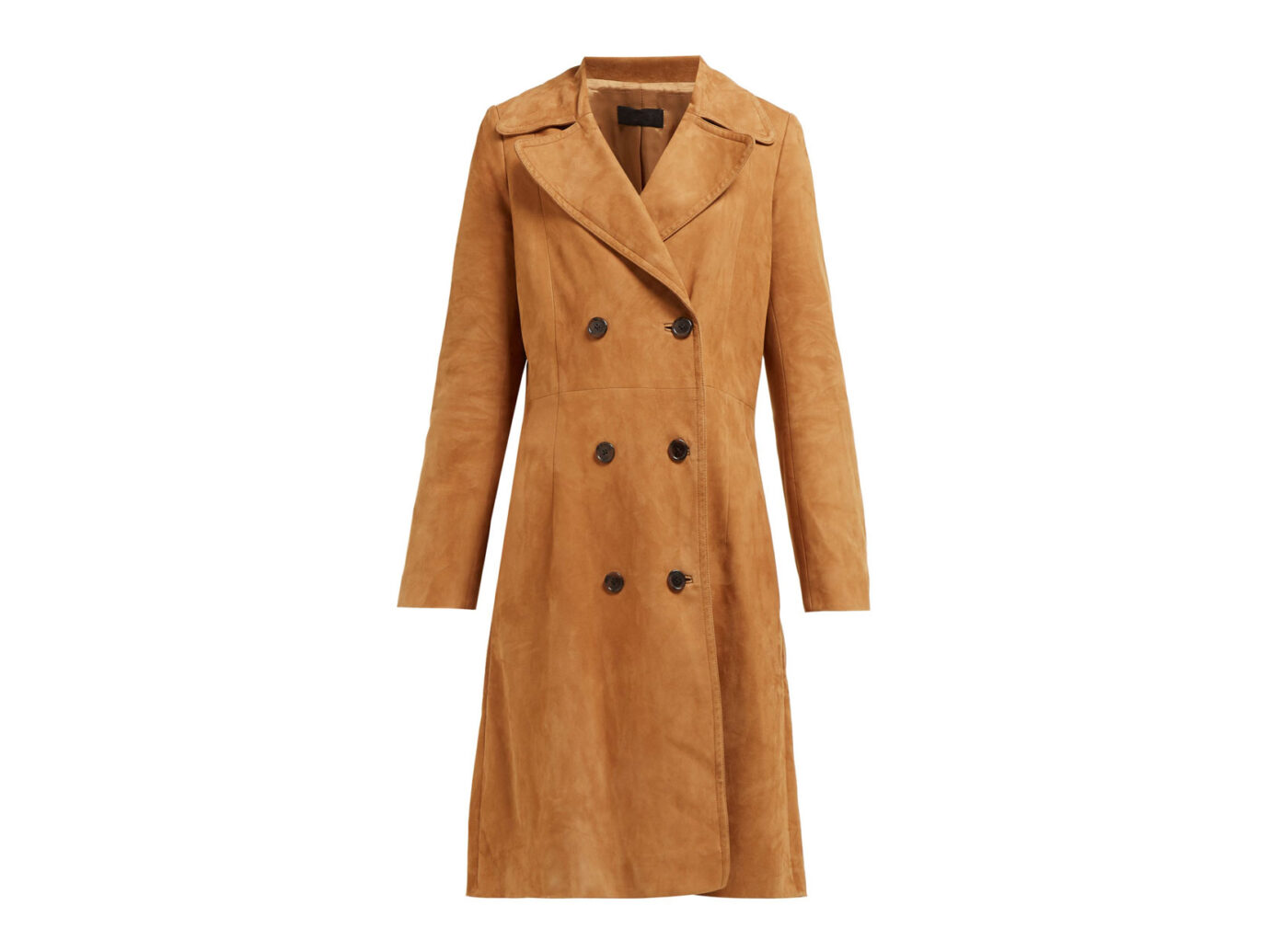 Nili Lotan Double Breasted Suede Trench Coat
