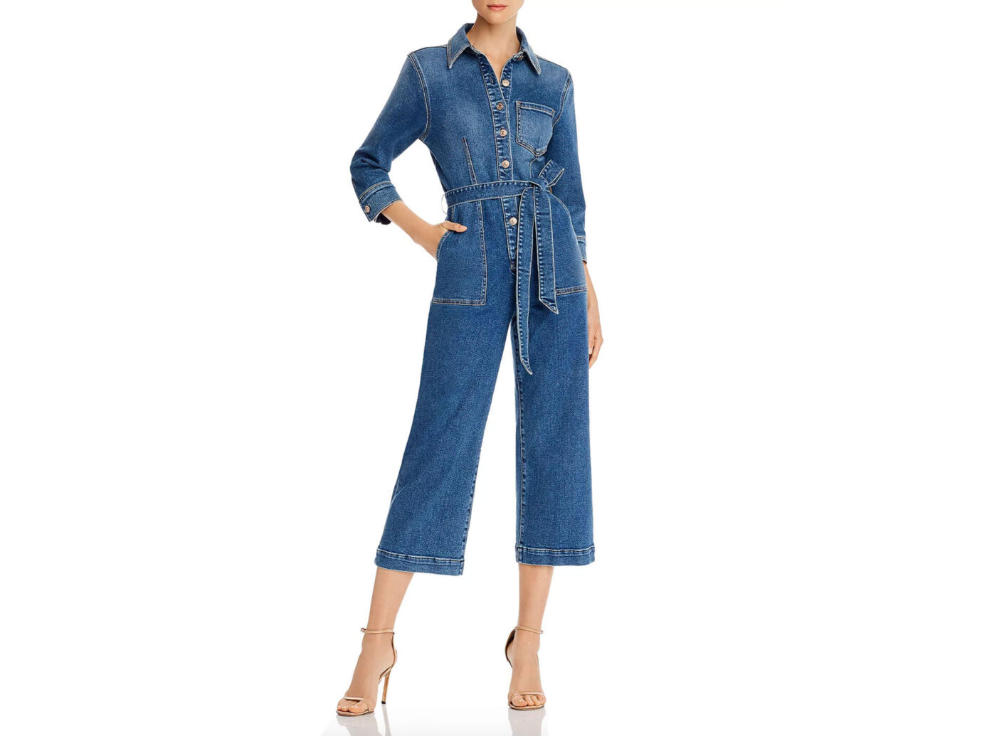 7 For All Mankind Alexa Cropped Denim Jumpsuit