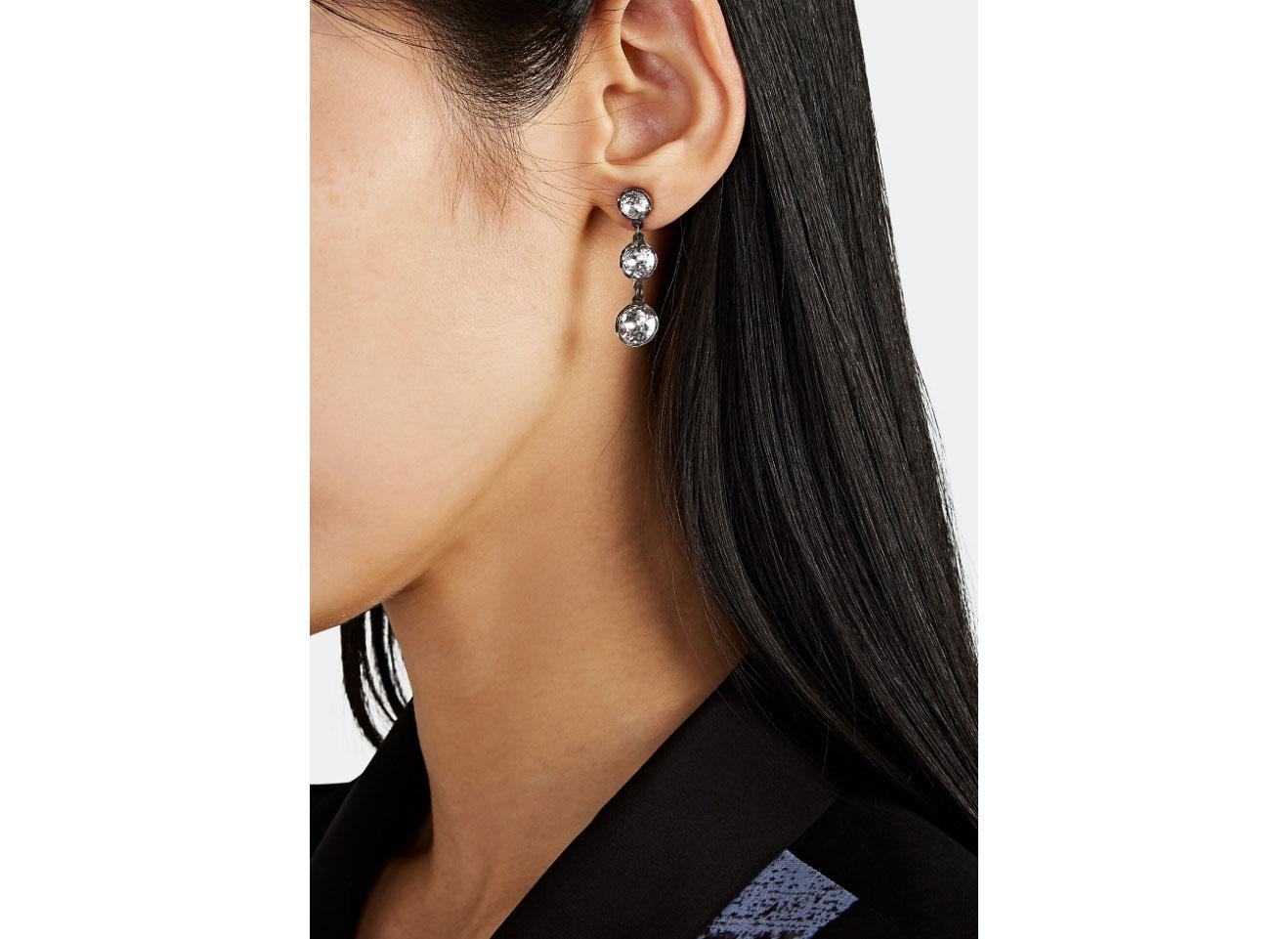 Charmed & Chained Crystal triple-Drop Earrings