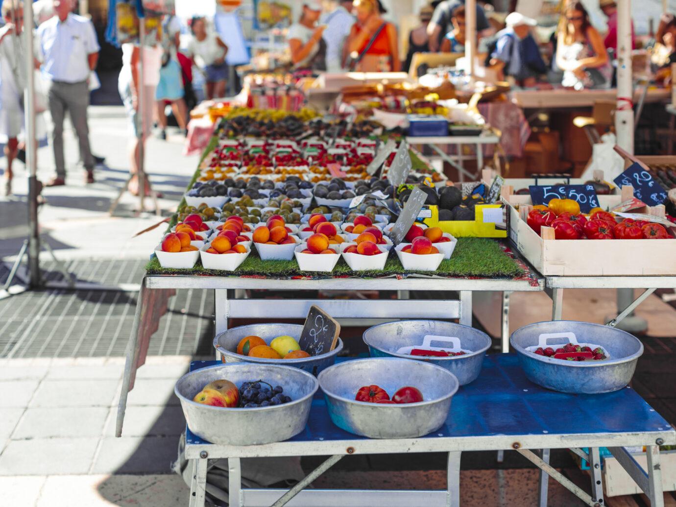 Cours Saleya flower market in Nice, France