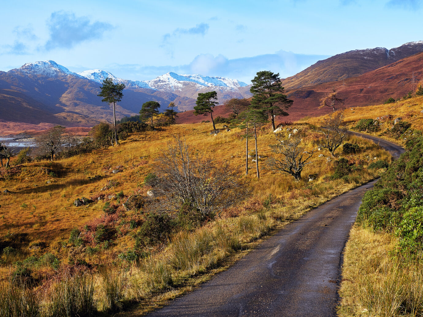 Loch Quoich in the Western Highlands of Scotland with its autumn colour and first snows.