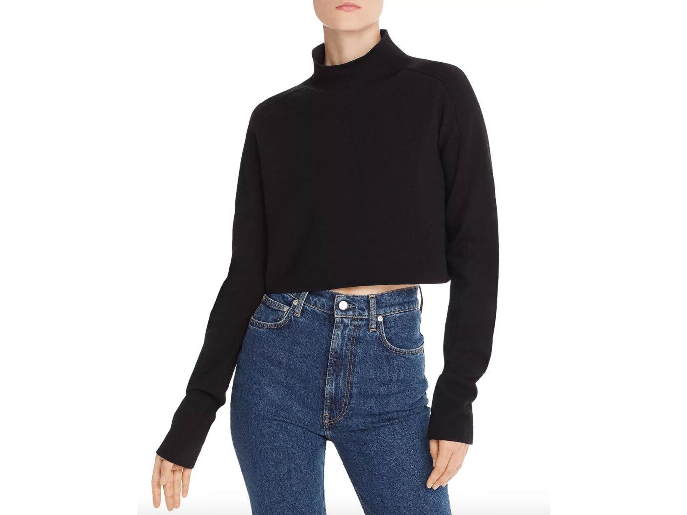 Helmut Lang Merino Wool-Blend Cropped Sweater