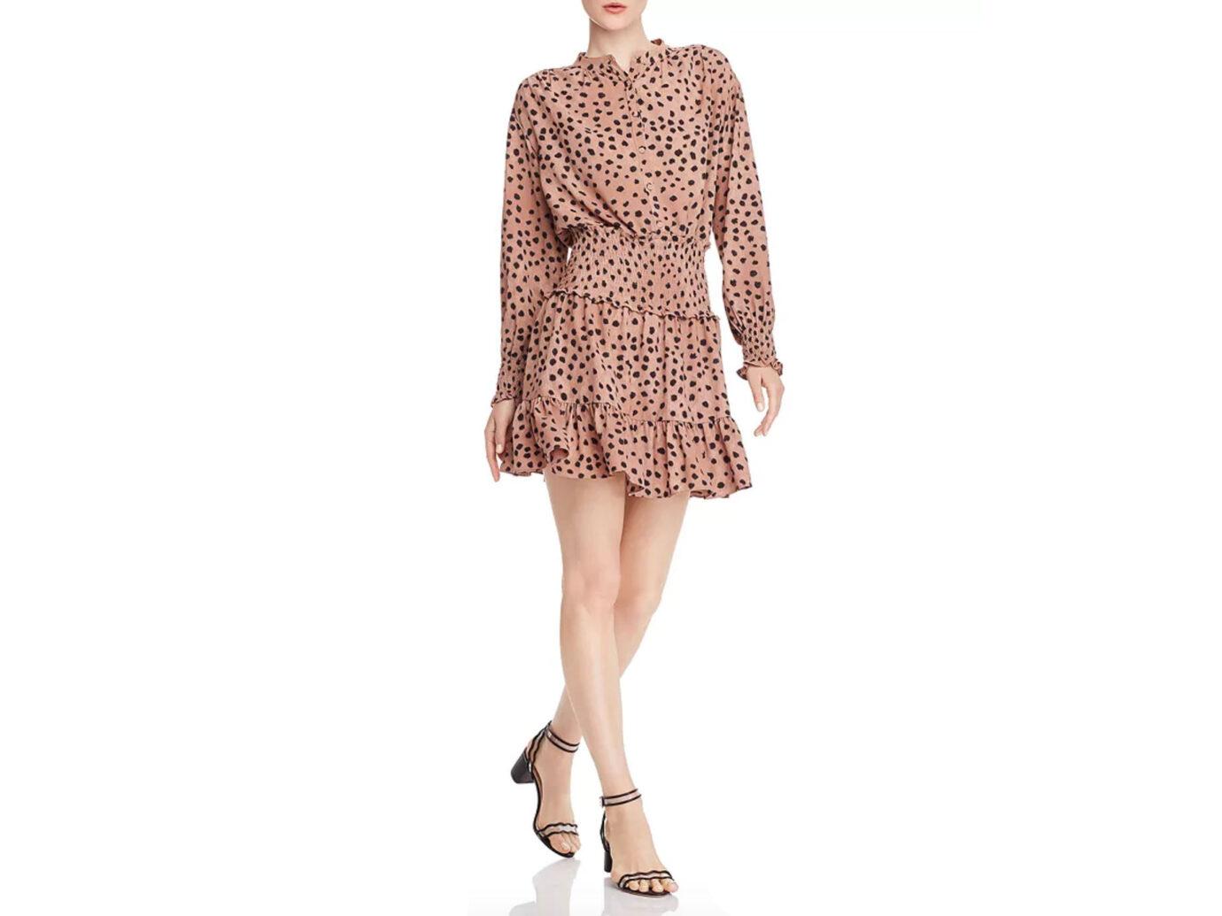 La Vie Rebecca Taylor Le Faune Cheetah-Print Smocked Dress