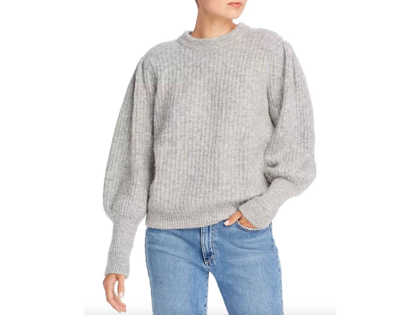 Notes du Nord Meg Balloon-Sleeve Ribbed Knit Sweater