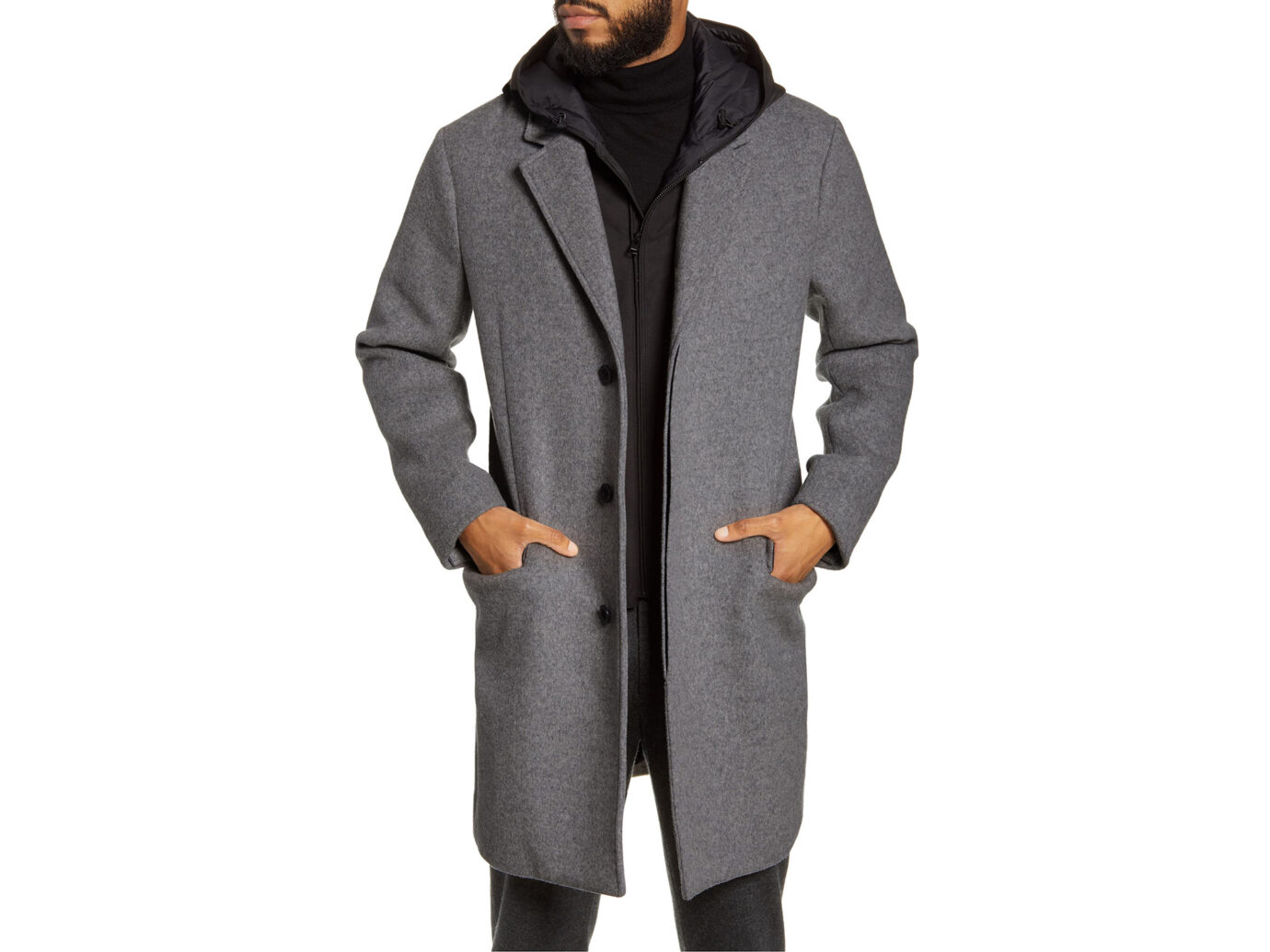 VINCE Hooded Topcoat