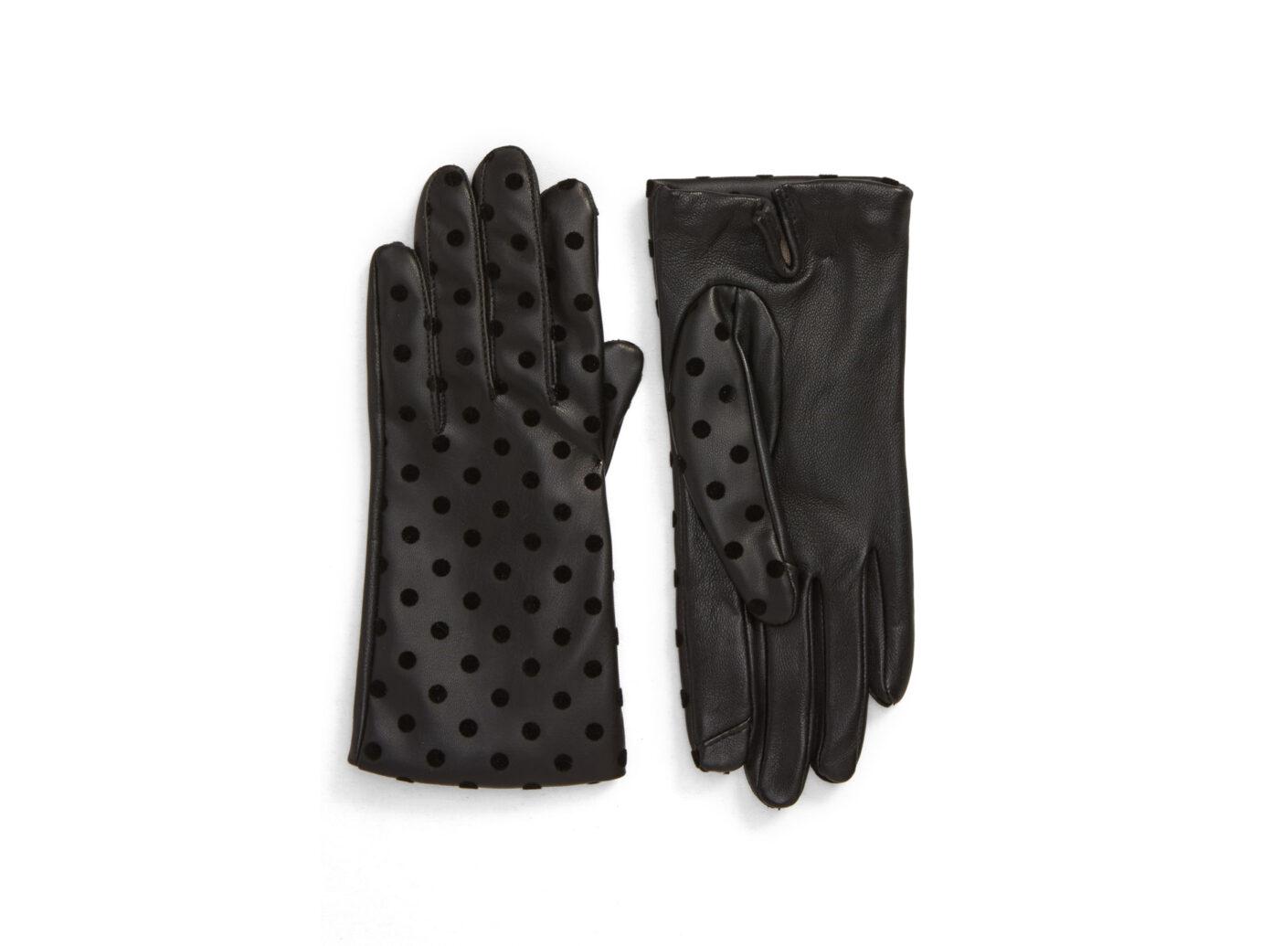 Nordstrom Flecked Dot Leather Gloves