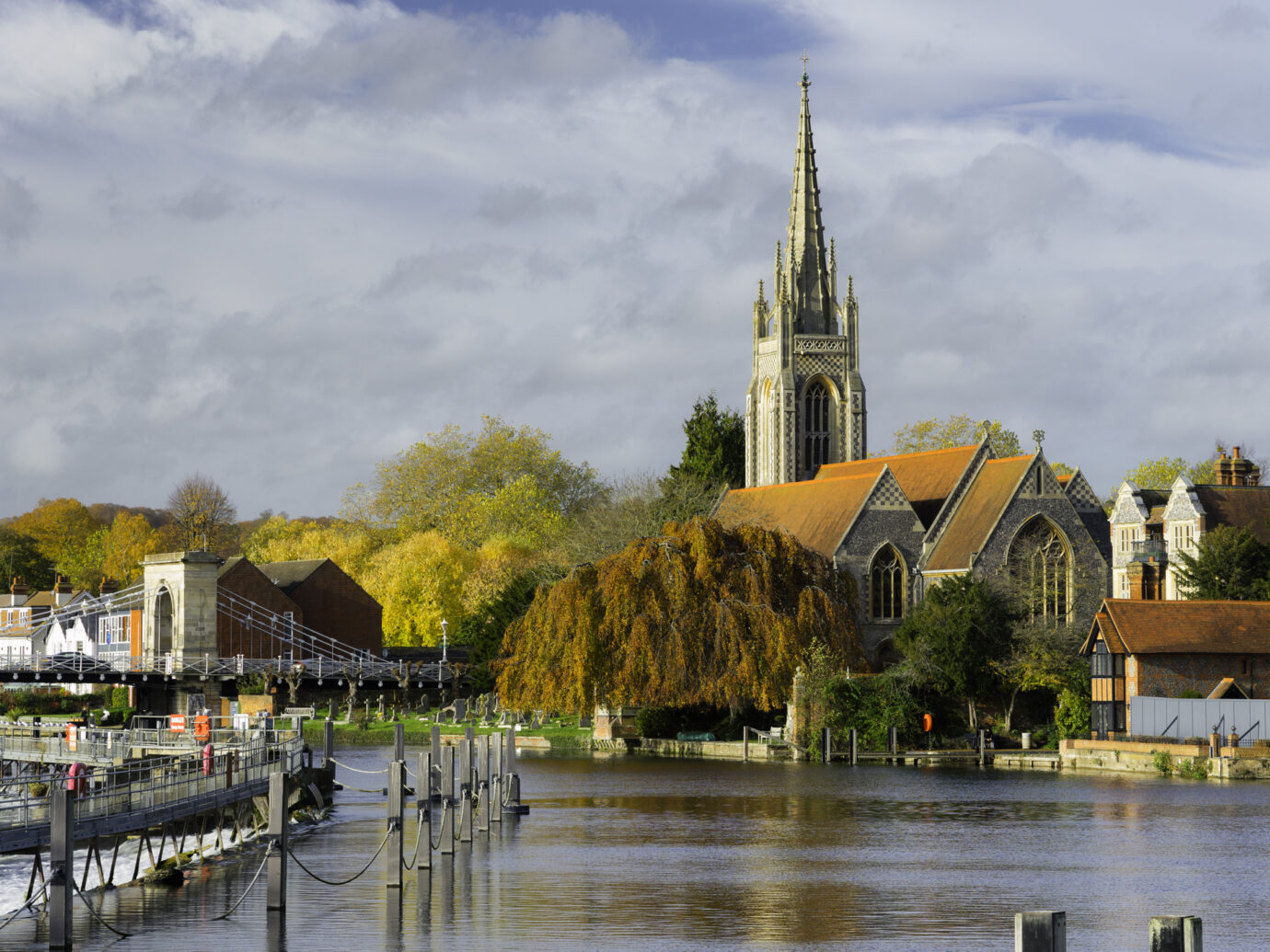 Looking up the River Thames towards the town of Marlow in Buckinghamshire, in the south east of England.