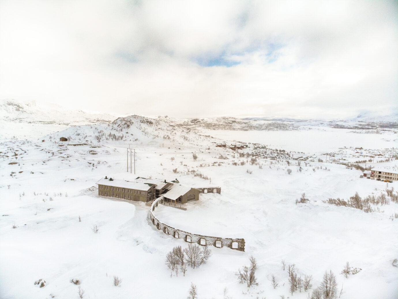 Ariel shot of Niehku Mountain Villa, Sweden