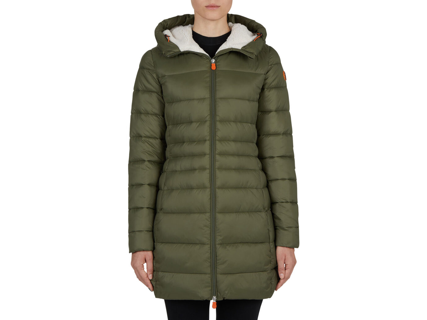 Save the Duck Long Hooded Sherpa-Trim Coat
