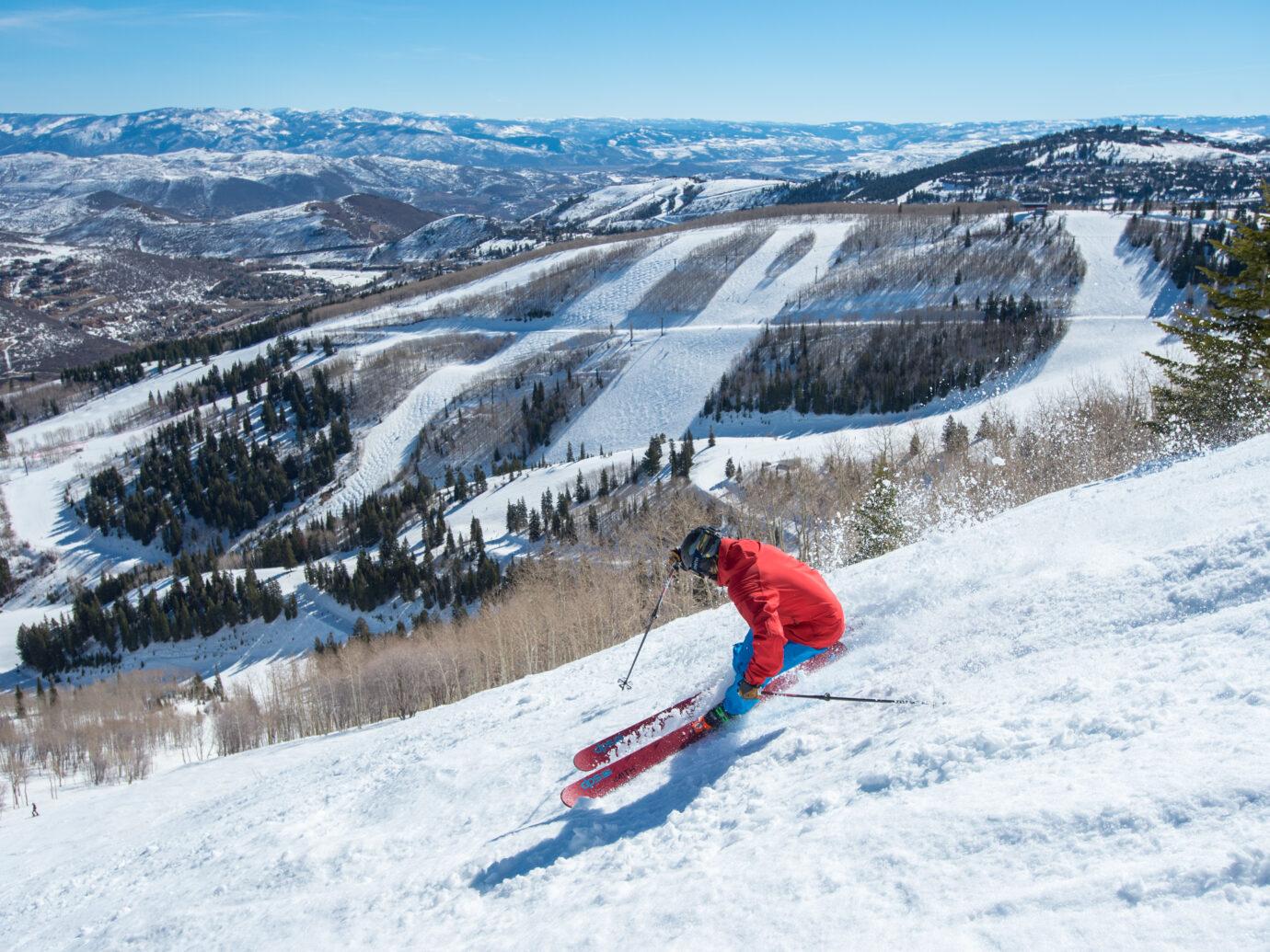 Skiing outside of Lodge at Blue Sky, Utah