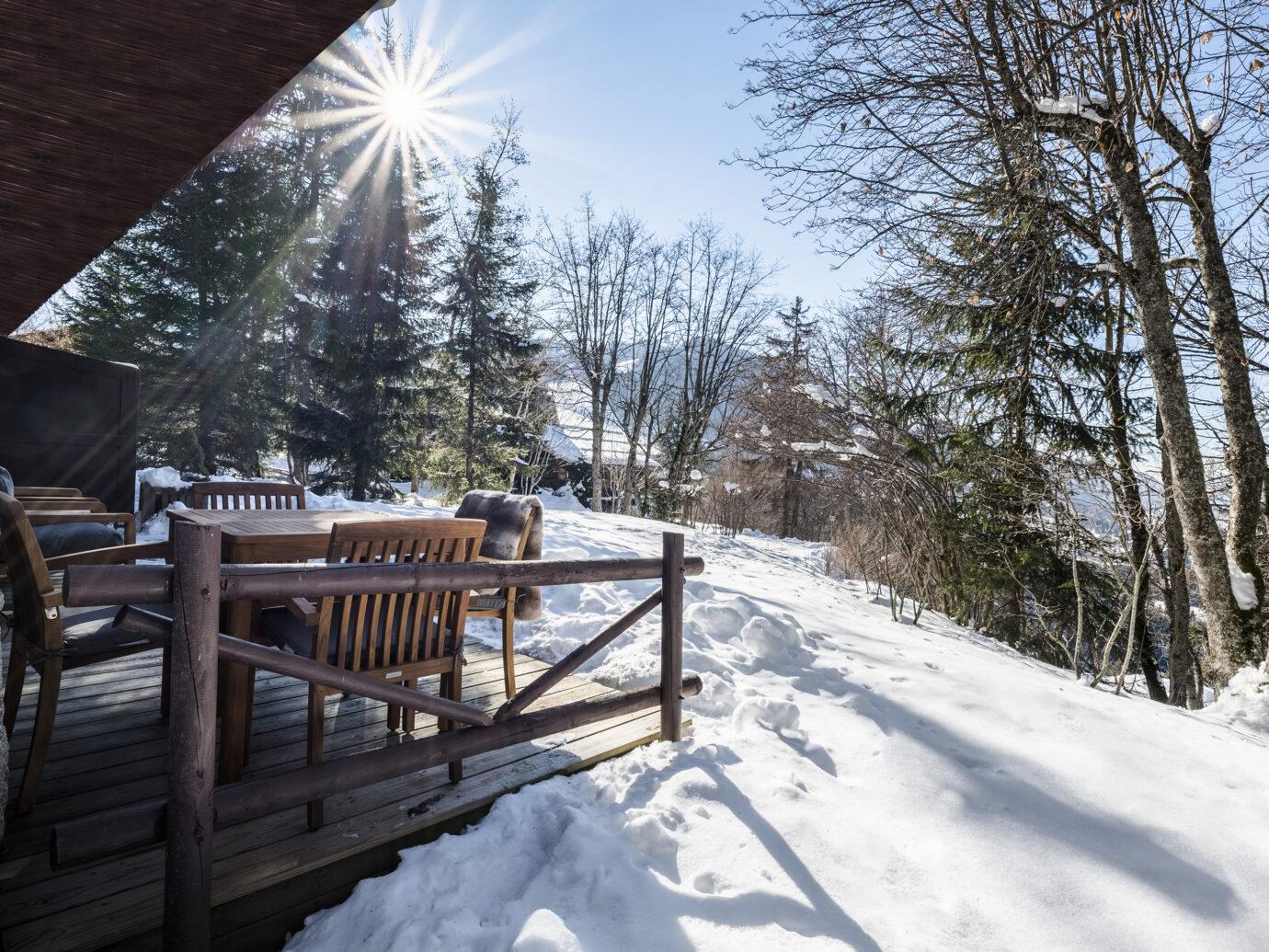Terrace at Les Chalets du Mont d'Arbois