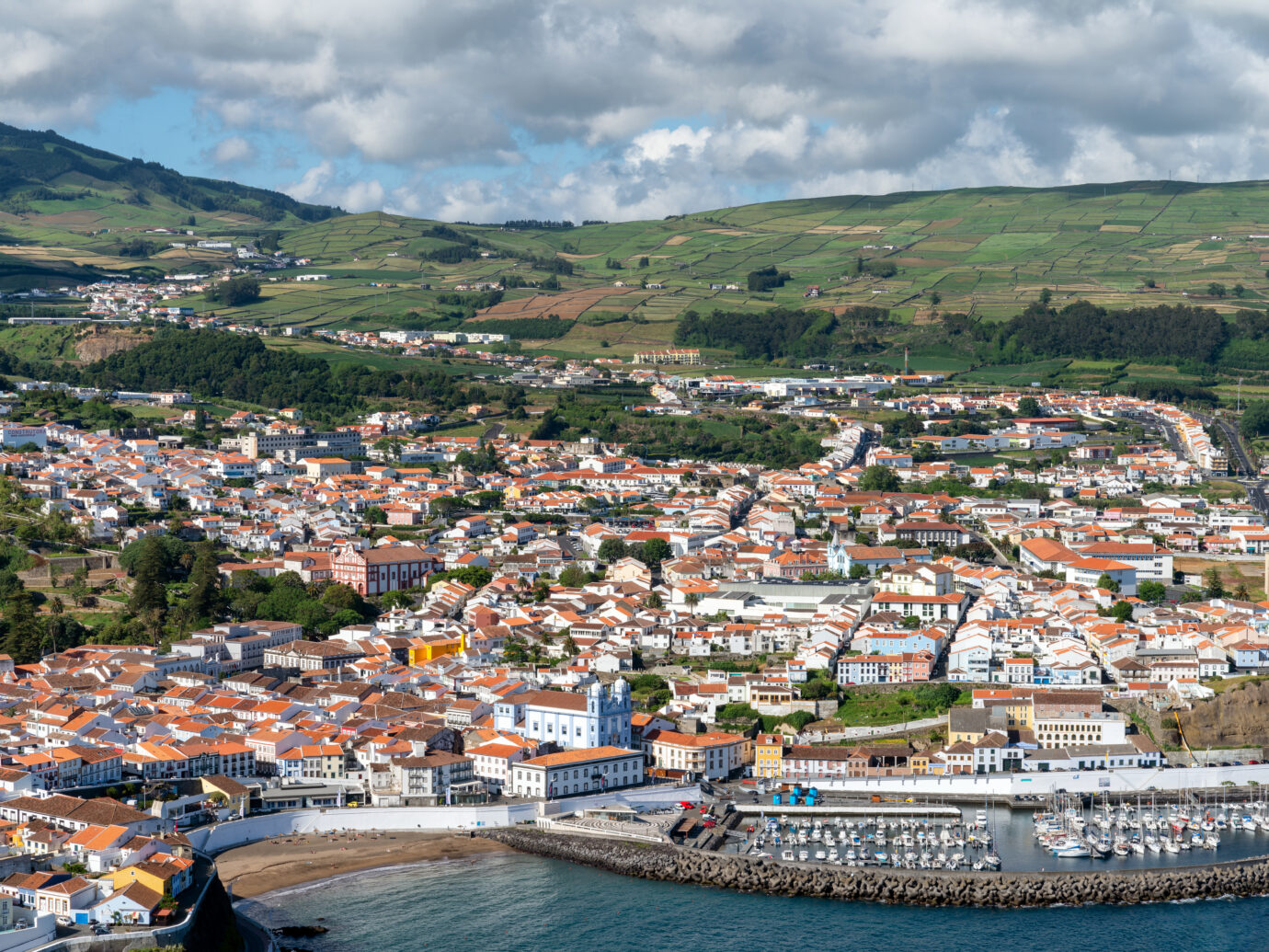 Town of Angra do Heroismo on Terciera Island, Azores