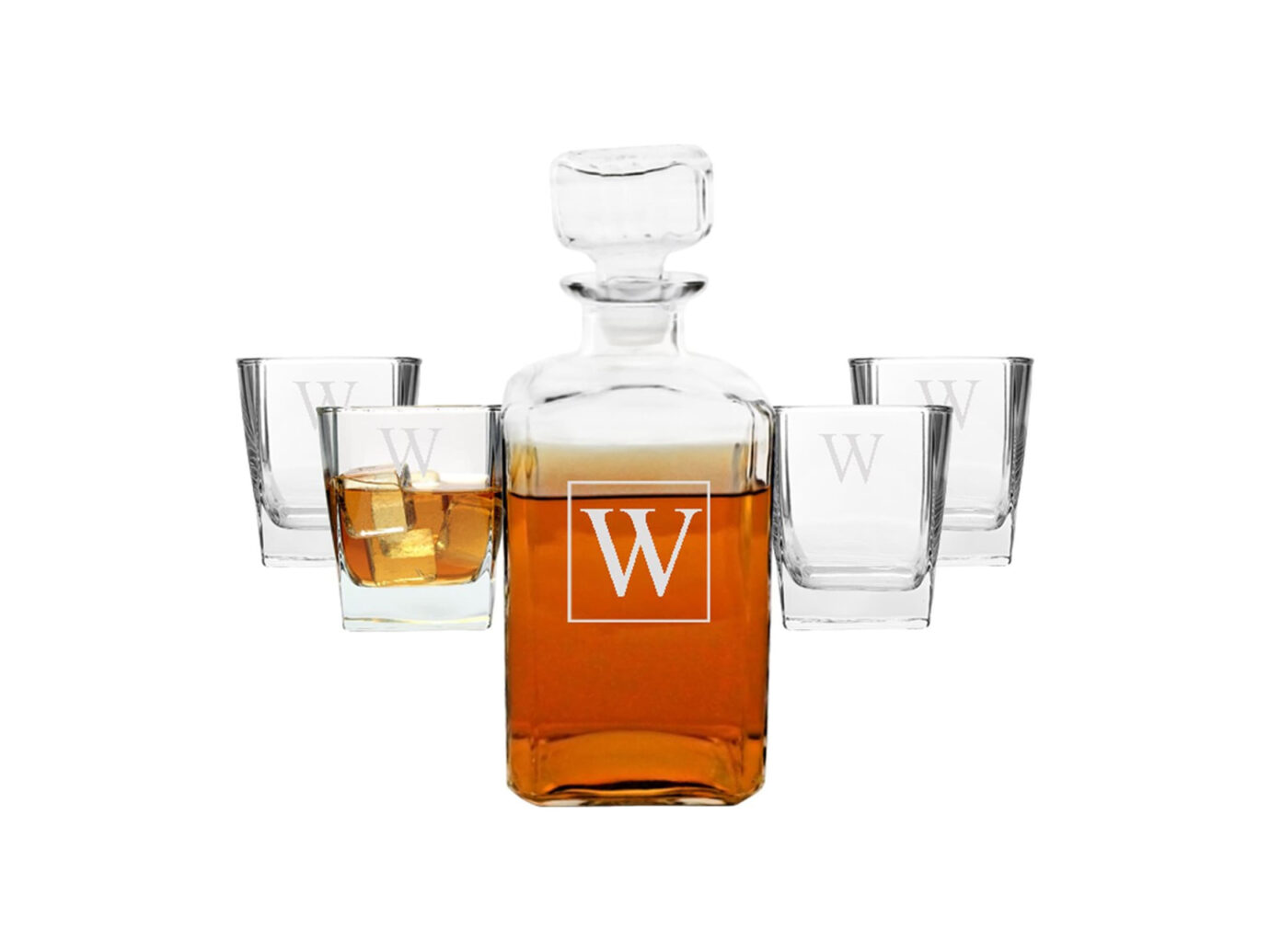 Cathy's Concepts Monogram Five-Piece Decanter Set
