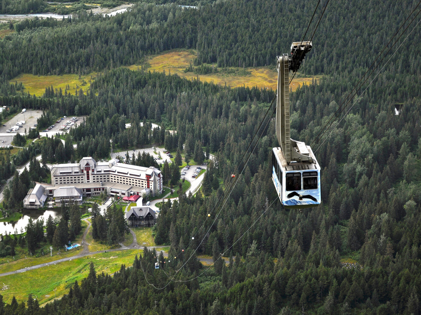 Tram on a mountain in Anchorage Alaska