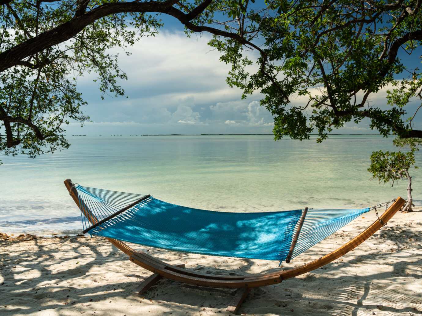 Hammock by the beach at Baker's Cay Resort