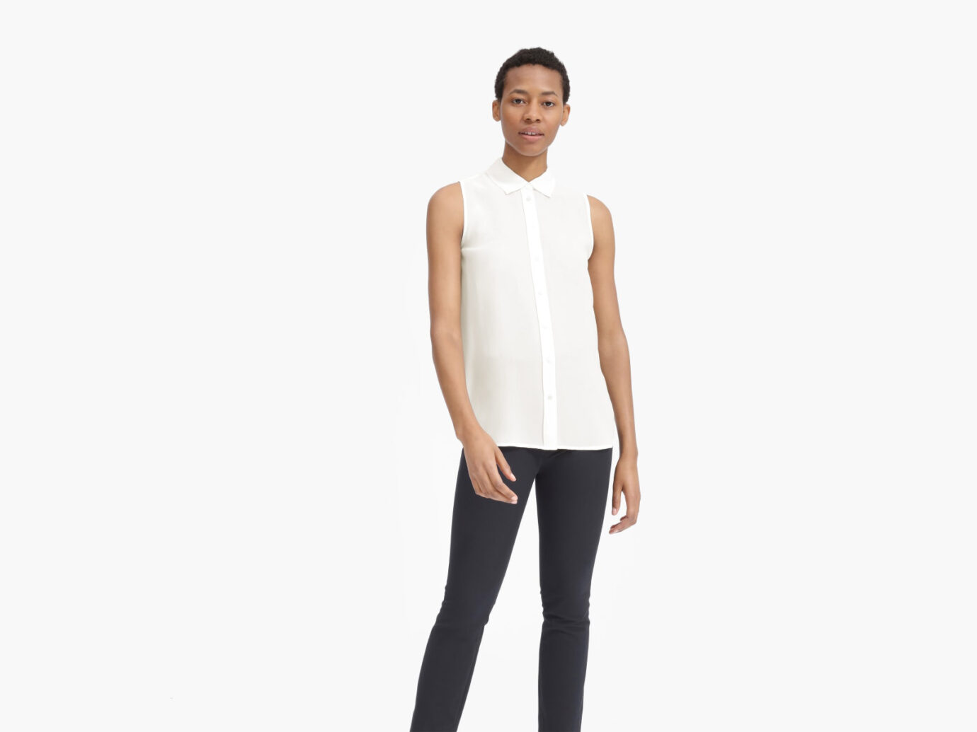 The Clean Silk Relaxed Sleeveless Shirt