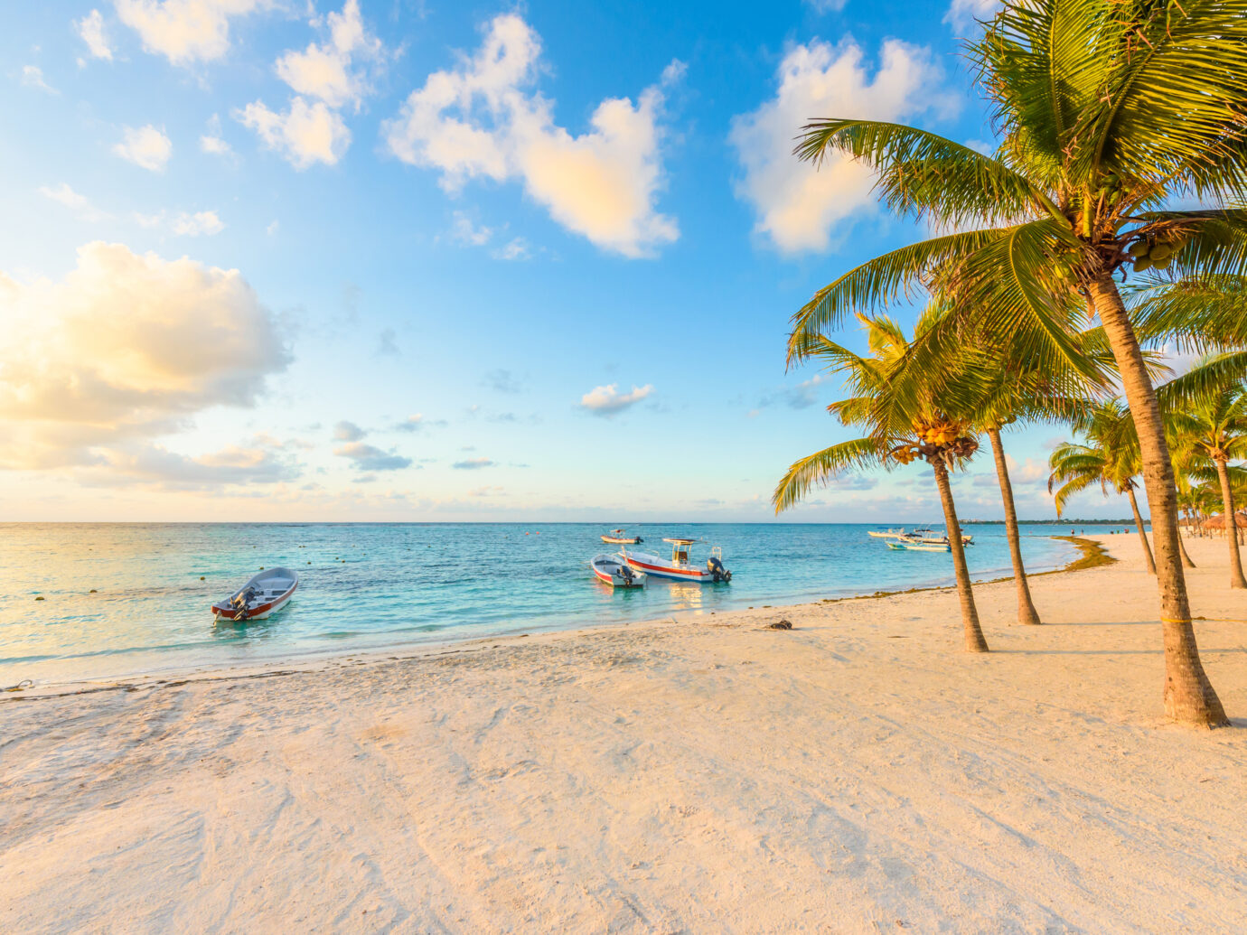 Sunrise at Akumal beach, paradise bay at Riviera Maya, caribbean coast of Mexico - travel destination for vacation