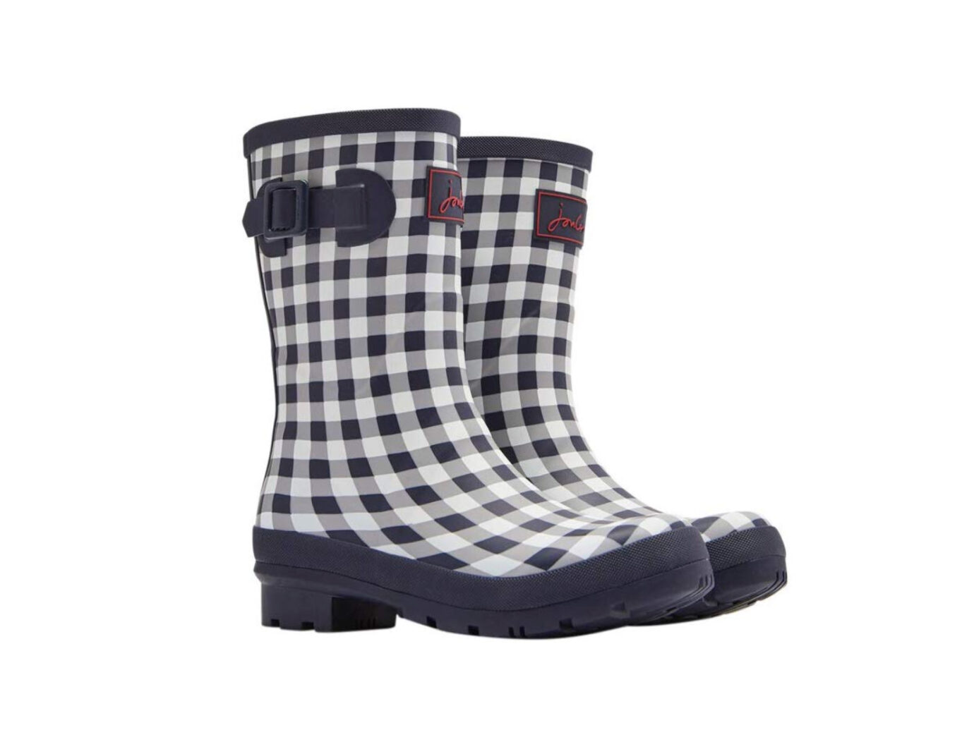 Joules Molly Mid-Height Printed Rain Boot in gingham