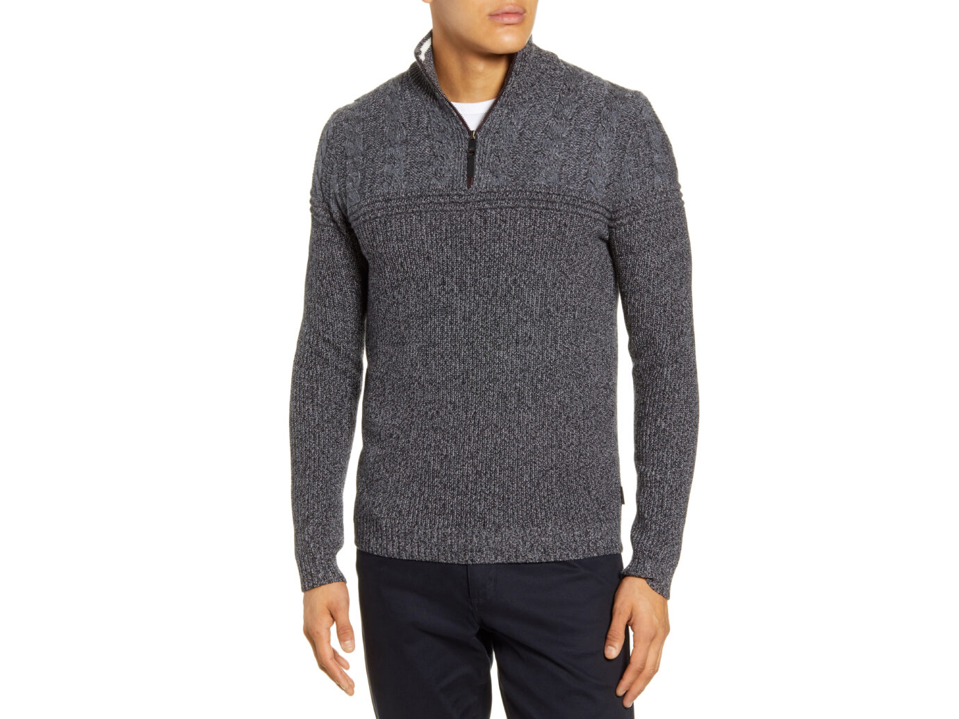 Ted Baker London Ladders Cable Knit Quarter Zip Pullover