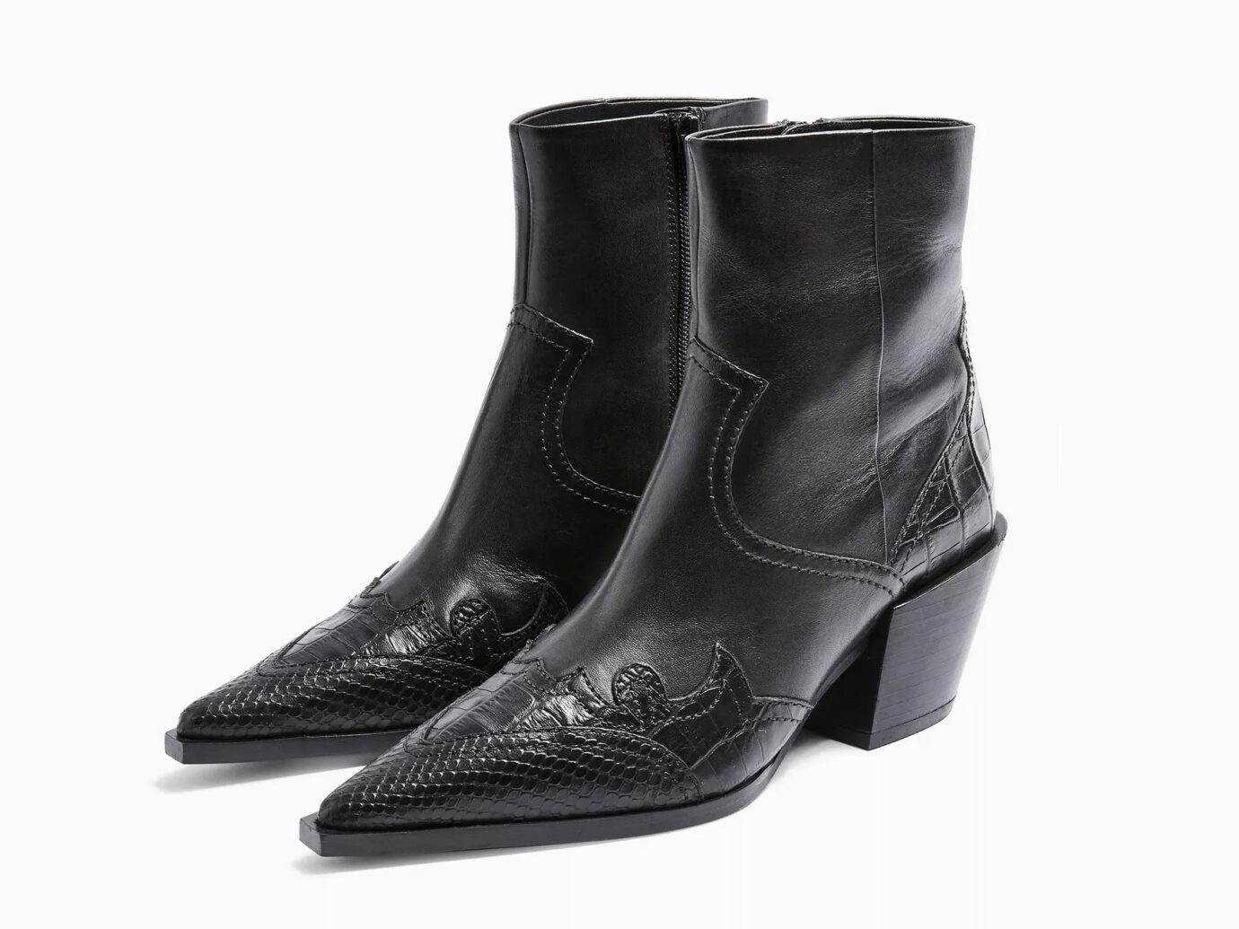 MISSOURI Black Leather Western Boots